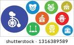 clown icon set. 9 filled clown... | Shutterstock .eps vector #1316389589