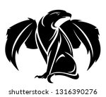 winged lion with eagle head  ... | Shutterstock .eps vector #1316390276