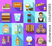 whisky icons set. flat set of... | Shutterstock .eps vector #1316393303