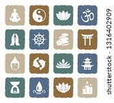 buddhism icons. grunge color... | Shutterstock .eps vector #1316402909