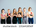attractive sports girls are...   Shutterstock . vector #1316418569