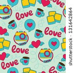 seamless love pattern design.... | Shutterstock .eps vector #131642864
