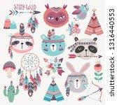 cute woodland boho tribal... | Shutterstock .eps vector #1316440553