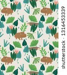 seamless pattern with hippo ... | Shutterstock .eps vector #1316453339