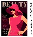 fashion girl wearing big hat.... | Shutterstock .eps vector #1316459669