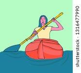 kayaking woman vector. rafting. ... | Shutterstock .eps vector #1316477990