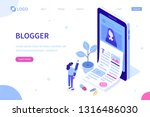 blogging concept with character.... | Shutterstock .eps vector #1316486030