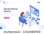 online medical service concept. ... | Shutterstock .eps vector #1316486930