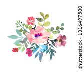 hand drawn watercolor bouquet... | Shutterstock . vector #1316497580