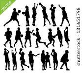 netball player silhouettes... | Shutterstock .eps vector #131651798