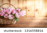 easter holiday basket with pink ... | Shutterstock . vector #1316558816