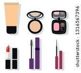 makeup kit. foundation  powder  ... | Shutterstock .eps vector #1316567396