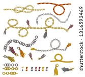 set on chain straps braids and... | Shutterstock .eps vector #1316593469