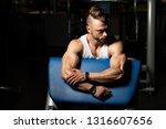 attractive man resting on bench ... | Shutterstock . vector #1316607656