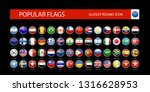 most popular flags glossy round ... | Shutterstock .eps vector #1316628953