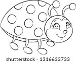 Stock vector adorable black and white kawaii illustration of a cute little ladybug smiling with dots and 1316632733