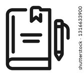 notebook with pen icon. line... | Shutterstock .eps vector #1316633900