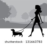Stock vector girl walking dog eps vector grouped for easy editing no open shapes or paths 131663783