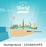 travel composition with famous... | Shutterstock .eps vector #1316641493