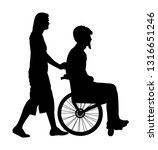 woman assistant disabled man in ... | Shutterstock .eps vector #1316651246