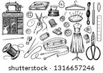 set of sewing tools and... | Shutterstock .eps vector #1316657246