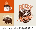 camping logo and labels.... | Shutterstock .eps vector #1316673710