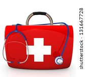 red case with stethoscope on... | Shutterstock . vector #131667728