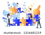 young people collect multicolor ... | Shutterstock .eps vector #1316681219