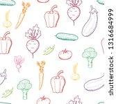 vegetable vector. doodle... | Shutterstock .eps vector #1316684999