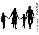 silhouette of happy family on a ... | Shutterstock .eps vector #1316685989