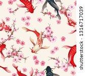 garden koi pattern. oriental... | Shutterstock .eps vector #1316717039