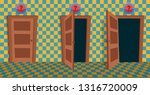 choices doors. vector flat...   Shutterstock .eps vector #1316720009