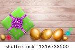 realistic golden easter eggs...   Shutterstock .eps vector #1316733500