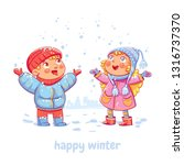 snowfall.  hildren enjoy the... | Shutterstock .eps vector #1316737370
