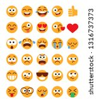 emoji pack. set of funny... | Shutterstock .eps vector #1316737373