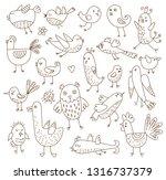 funny birds. seamless... | Shutterstock .eps vector #1316737379
