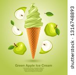 green apple   flavored soft ice ... | Shutterstock .eps vector #1316748893