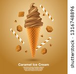 caramel   flavored soft ice... | Shutterstock .eps vector #1316748896