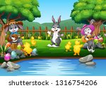 easter background with bunnies... | Shutterstock . vector #1316754206