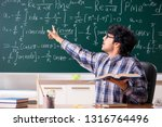 funny male math teacher in the... | Shutterstock . vector #1316764496