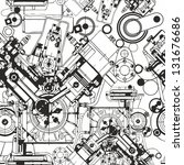 drawing engine seamless pattern ... | Shutterstock .eps vector #131676686