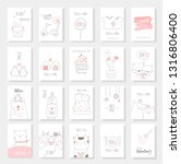 valentine's day card set with... | Shutterstock .eps vector #1316806400