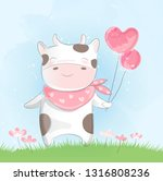 cute baby cow  watercolor style | Shutterstock .eps vector #1316808236