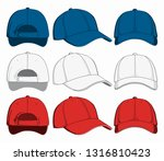 set of caps  front  back and... | Shutterstock .eps vector #1316810423