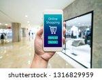 smart phone online shopping in... | Shutterstock . vector #1316829959