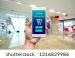 smart phone online shopping in... | Shutterstock . vector #1316829986