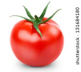 One Fresh Red Tomato Isolated...