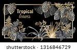 template banner dark leaves of...   Shutterstock .eps vector #1316846729