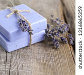 stack of lavender natural soap... | Shutterstock . vector #1316865359