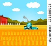 wheat harvesting flat vector... | Shutterstock .eps vector #1316885123